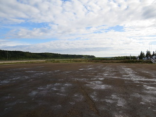 The tarmac of the Old Crow Airport, looking towards the east