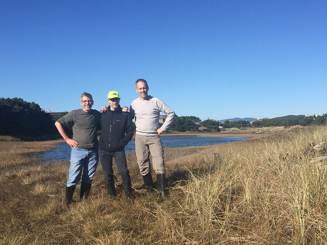 Matt, Doug, and Chris hiking Siletz Bay and the lagoons on Salishan spit