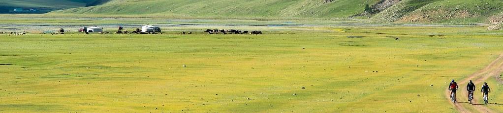 Bike-Reise Mongolei. Grassteppe.