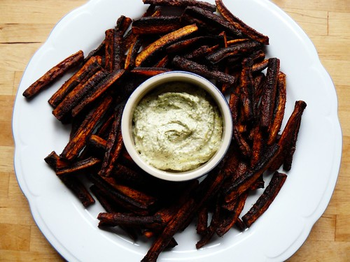 Roasted purple carrots with dill and sunflower seed dip