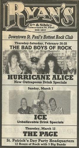 02/26 - 28/87 Hurricane Alice @ Ryan's, St. Paul, MN