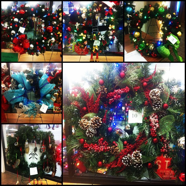 Wreath decorating at #mru bookstore. Silent auction with $ for students Season of Caring wish tree.