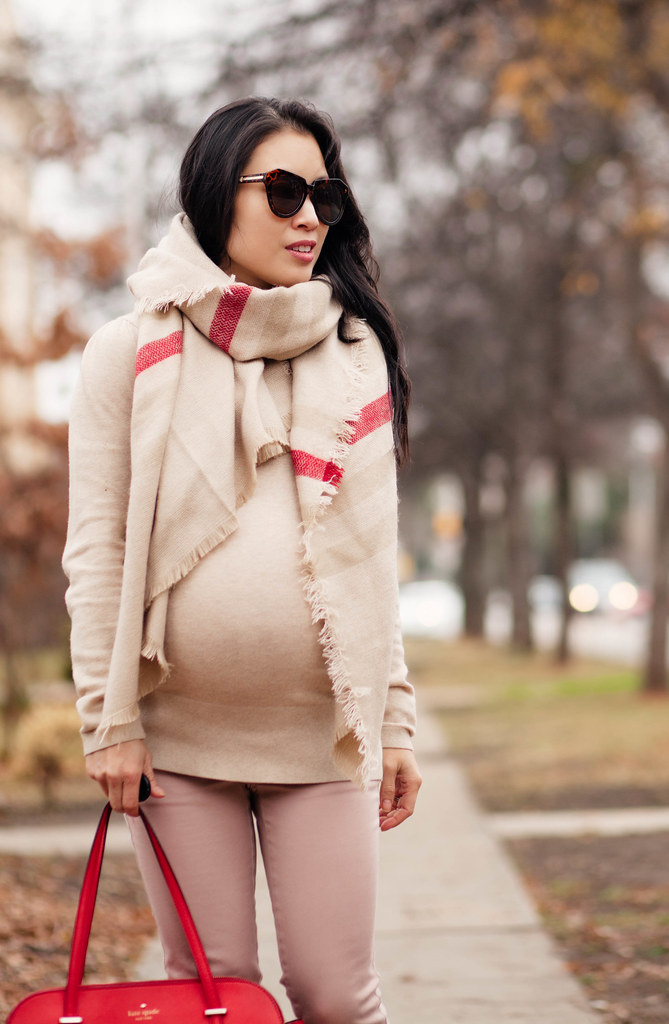 cute & little blog | petite fashion #maternity #bumpstyle #thirdtrimester | chicwish indians stripe scarf, beige turtleneck tunic, pink skinny pants, kate spade rose gold pumps, kate spade red bag | fall winter outfit