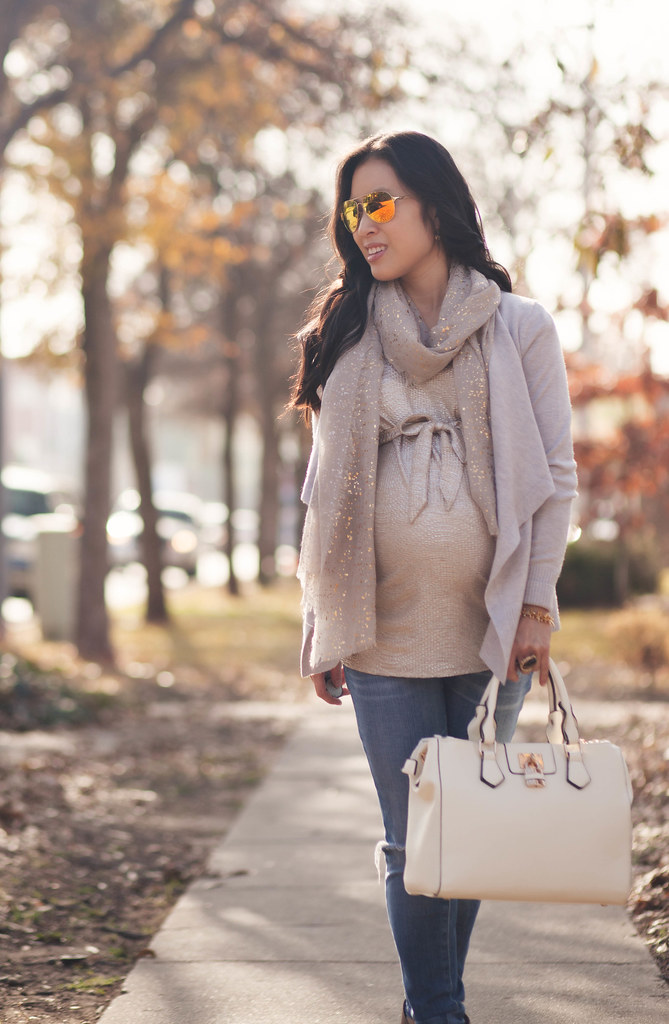 cute & little blog | petite fashion | maternity bumpstyle third trimester 33 weeks | gray waterfall cardi, gold foil top, speckled metallic gray scarf, maternity distressed jeans, taupe ankle booties, gold mirrored aviators | fall layering outfit