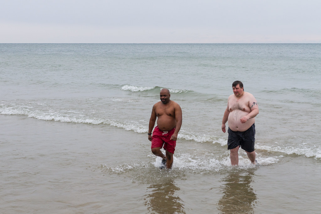 The last two out of Lake michigan for Polar Plunge 2015