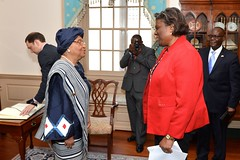 Assistant Secretary of State for African Affairs Linda Thomas-Greenfield greets Liberian President Ellen Johnson Sirleaf before her meeting with U.S. Secretary of State John Kerry at the U.S. Department of State in Washington, D.C., on February 27, 2015. [State Department photo/ Public Domain]