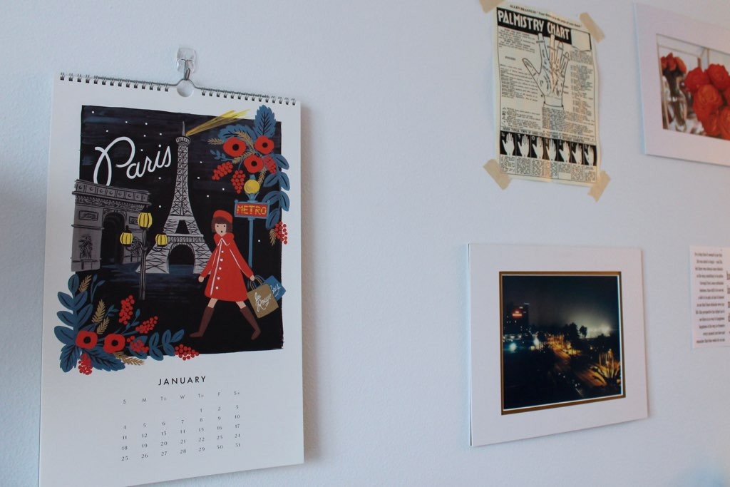 apartment wall art: Rifle Paper Co calendar + framed photography