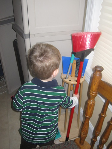 Using a Cleaning Stand (Photo from OurMontessoriHome.wordpress.com)
