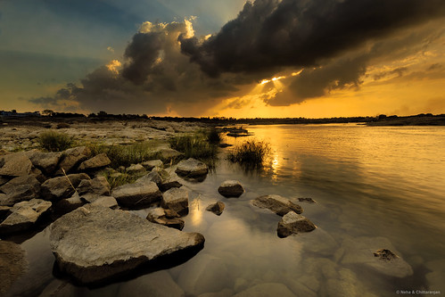sunset india nature clouds river landscapes rocks sundown dusk neha gujarat desai surat tapi chittaranjan wagecha