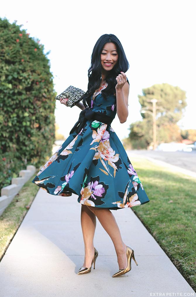anthropologie petites floral dress 1