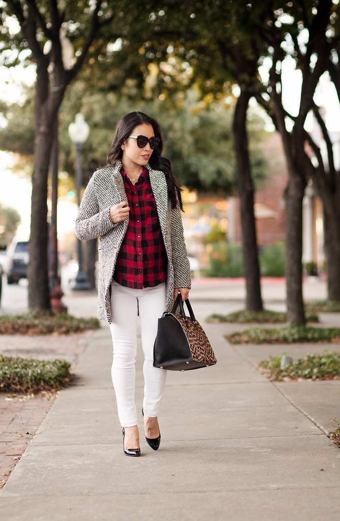 cute & little blog | petite fashion maternity | sheinside houndstooth coat, buffalo check shirt, white jeans, louboutin decollete, clare v sandrine leopard bag | fall winter outfit