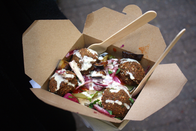 Falafel salad box at the Greenwich Market, Greenwich