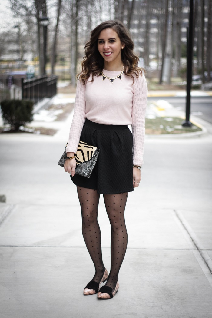 va darling. fashion blogger. dc blogger. duster cardigan. valentines day outfut. pink. mini skirt. polka dot tights. 10 crosby derek lam flats. andrea viza 1