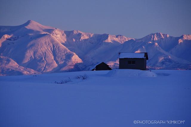 夕照の十勝岳