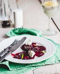to eat a salad of  beets with goat cheese, oil and…