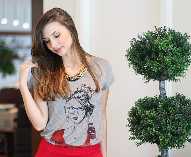 06-look do dia saia vermelha e t-shirt la mandinne blog sempre glamour