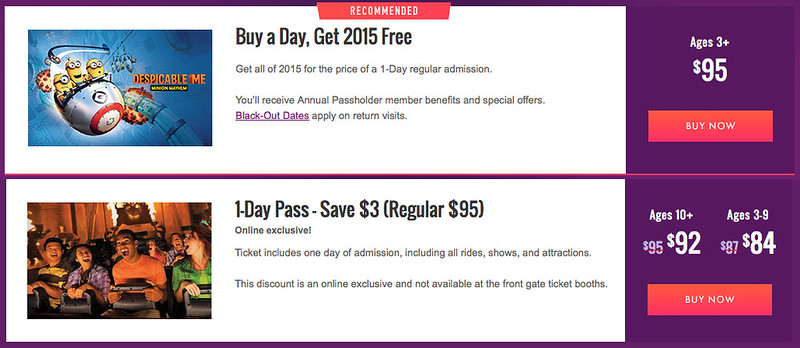 Universal Increases Buy a Day, Get 2015 Free Price