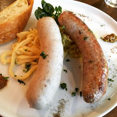 housemade german sausages, spätzle & sauerkraut #lunch #german #japan #osaka
