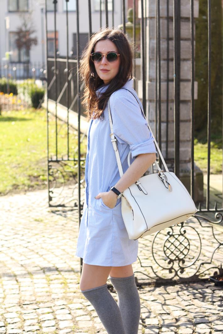 Spencer Hastings inspired preppy outfit: pinstripe shirt dress, over the knee socks