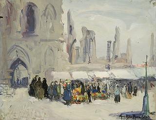 """""""Cloth Hall, Ypres – Market Day,"""" a painting by Mary Riter Hamilton, 1920 /  « Les Halles aux Draps d'Ypres par un jour de marché »; tableau peint par Mary Riter Hamilton en 1920"""