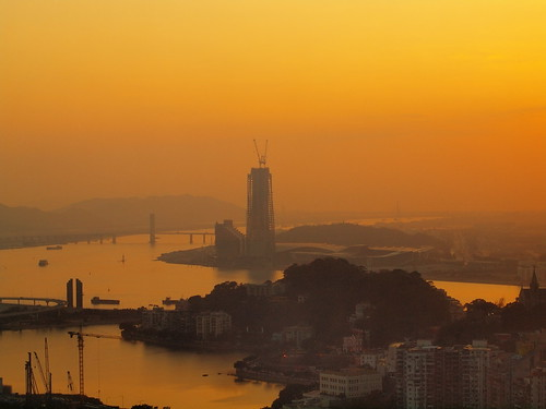 china sunset macau hazy southchinasea
