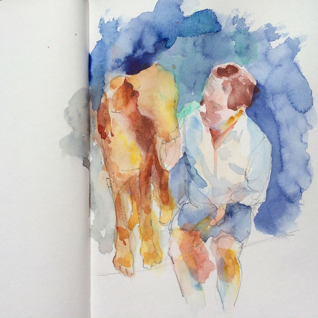 "Watercolour painting by Ako Lamble ""Mike and Henry"" Process2"