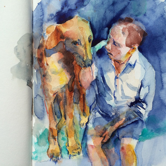 "Watercolour painting by Ako Lamble ""Mike and Henry"" Process6"