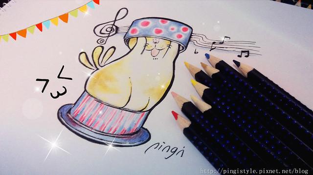 色鉛筆手繪塗鴉插畫步驟教學貓蛋糕盒14