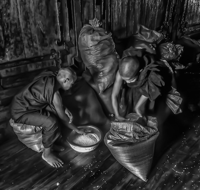 monks sifting rice