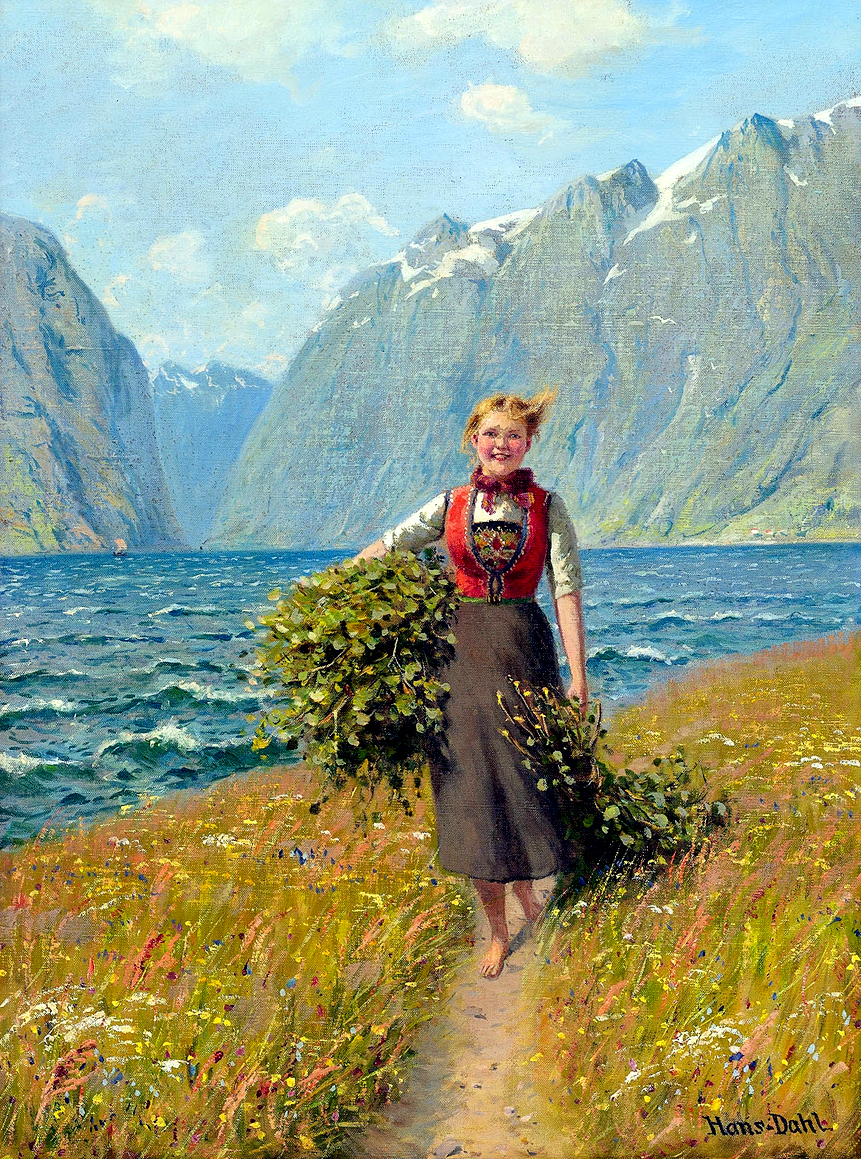 Girl Carrying Leaves by Hans Dahl