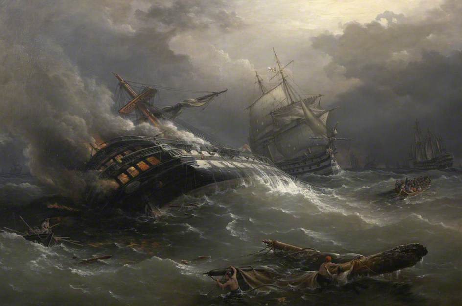 Destruction by Fire of the Gun Ship 'Achille' at the Close of the Battle of Trafalgar by Richard Brydges Beechey