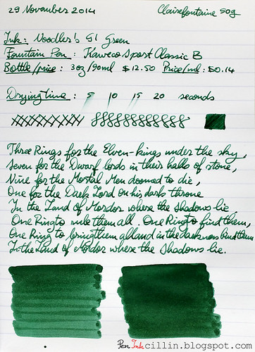 Noodler's GI Green on Clairefontaine