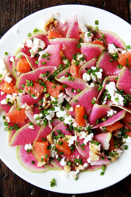 watermelon radish, goat cheese and cara cara orange salad
