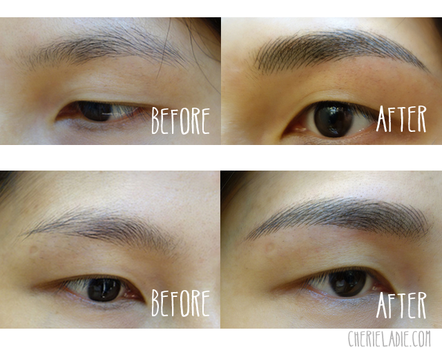 Close-up comparison of the Before & After Brows.