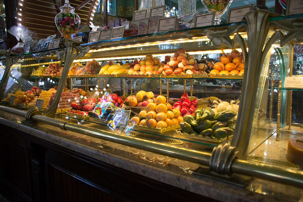 Food cases inside Eliseyev Emporium