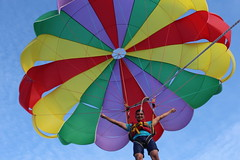 wing(0.0), sailing(0.0), hot air ballooning(0.0), toy(0.0), parachute(1.0), air sports(1.0), sports(1.0), parasailing(1.0), parachuting(1.0), windsports(1.0), extreme sport(1.0),