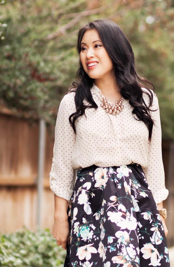 https://cuteandlittle.com | petite fashion blog | polka dot shirt, floral pleated skirt | dressy feminine spring outfit