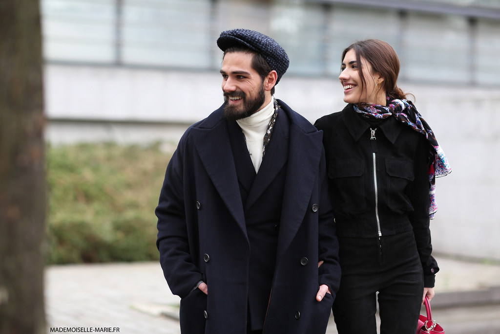 Giotto Calendoli and Patricia Manfield at Paris fashion week menswear