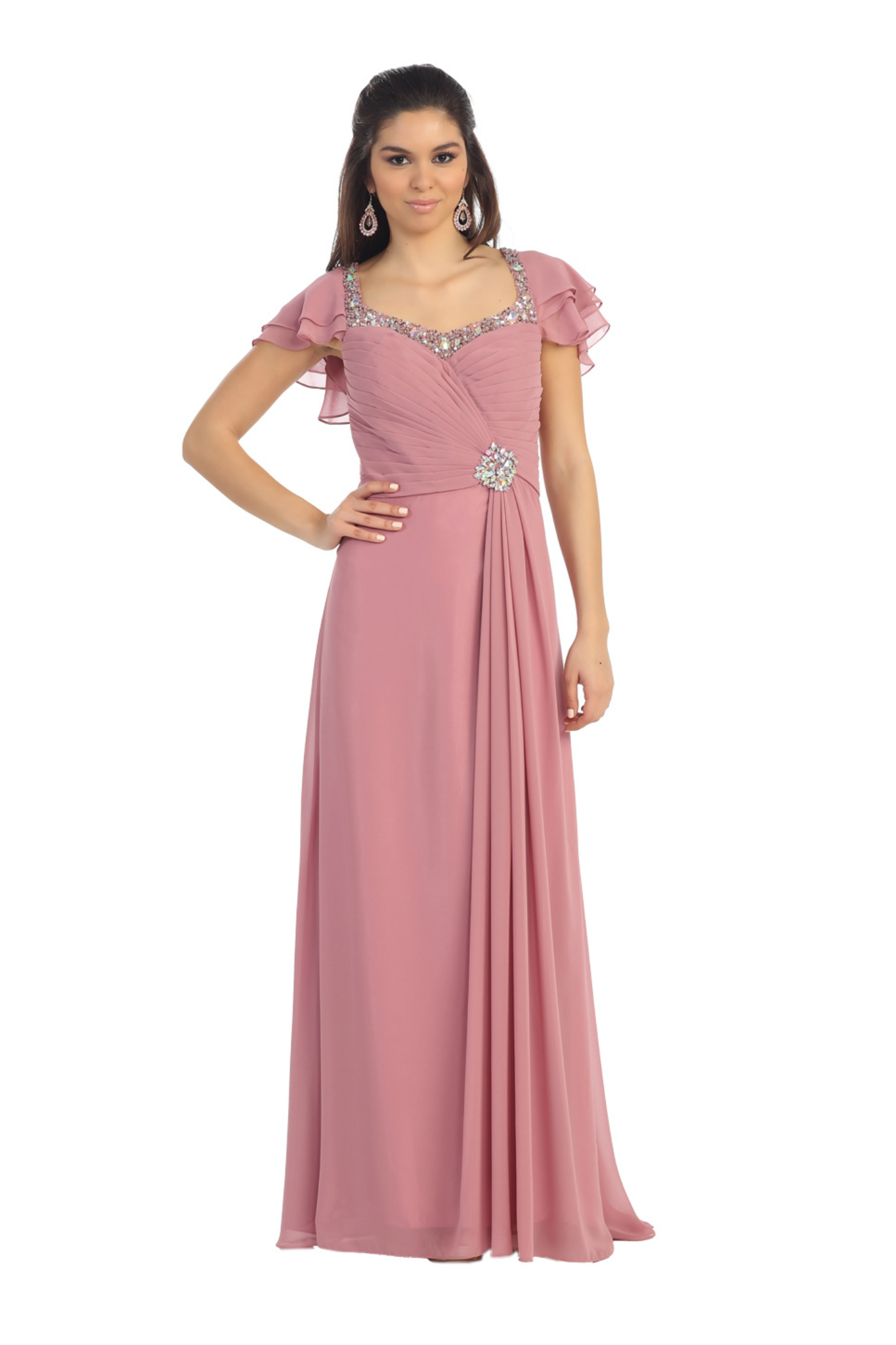 Plus Size Short Sleeve Fabric Pleated Mother Of The Bride