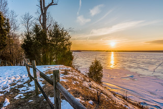 Sunset over the frozen Potomac River