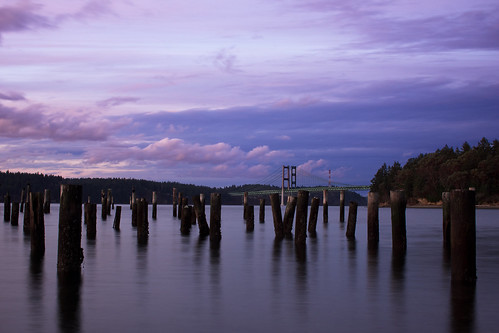 bridge sunset day cloudy tacoma narrows