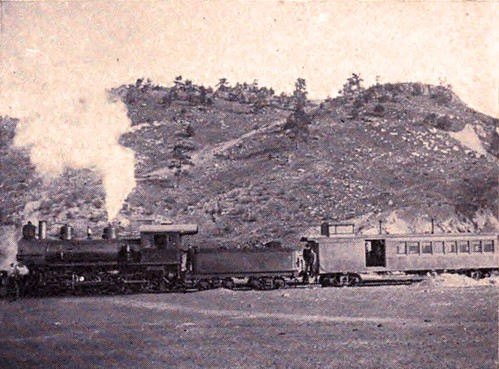 Colorado and Wyoming RR passenger train, Flyer, Sunrise  WY 1902