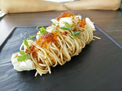 Chilled angel hair with crab meat, salmon roe, and chorizo oil