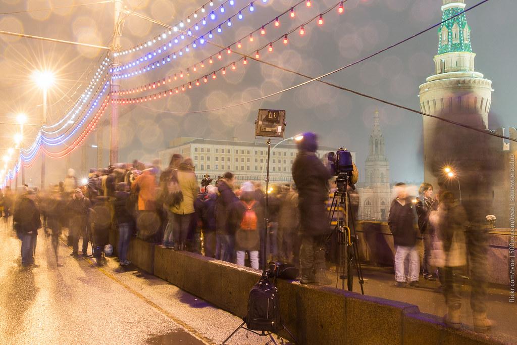 На мосту, где убили Бориса Немцова