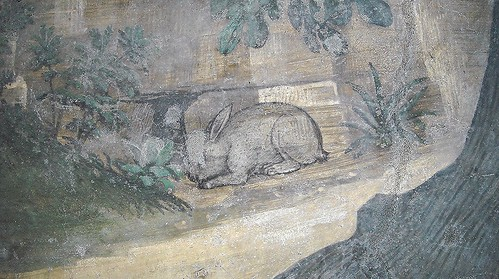 """Rabbit (Detail) - """"Entrance the religious life"""" - """"Histories of Saint Benedict"""" - Fresco (about 1500-1510) by Antonio Solario, so-called """"lo Zingaro"""" (Civita d'Aquino about 1465-Naples 1530) and his followers - Cloister of Saint Severino and Sossio, now S"""