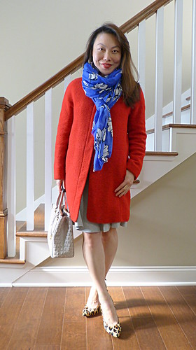 red coat + popcorn stitch