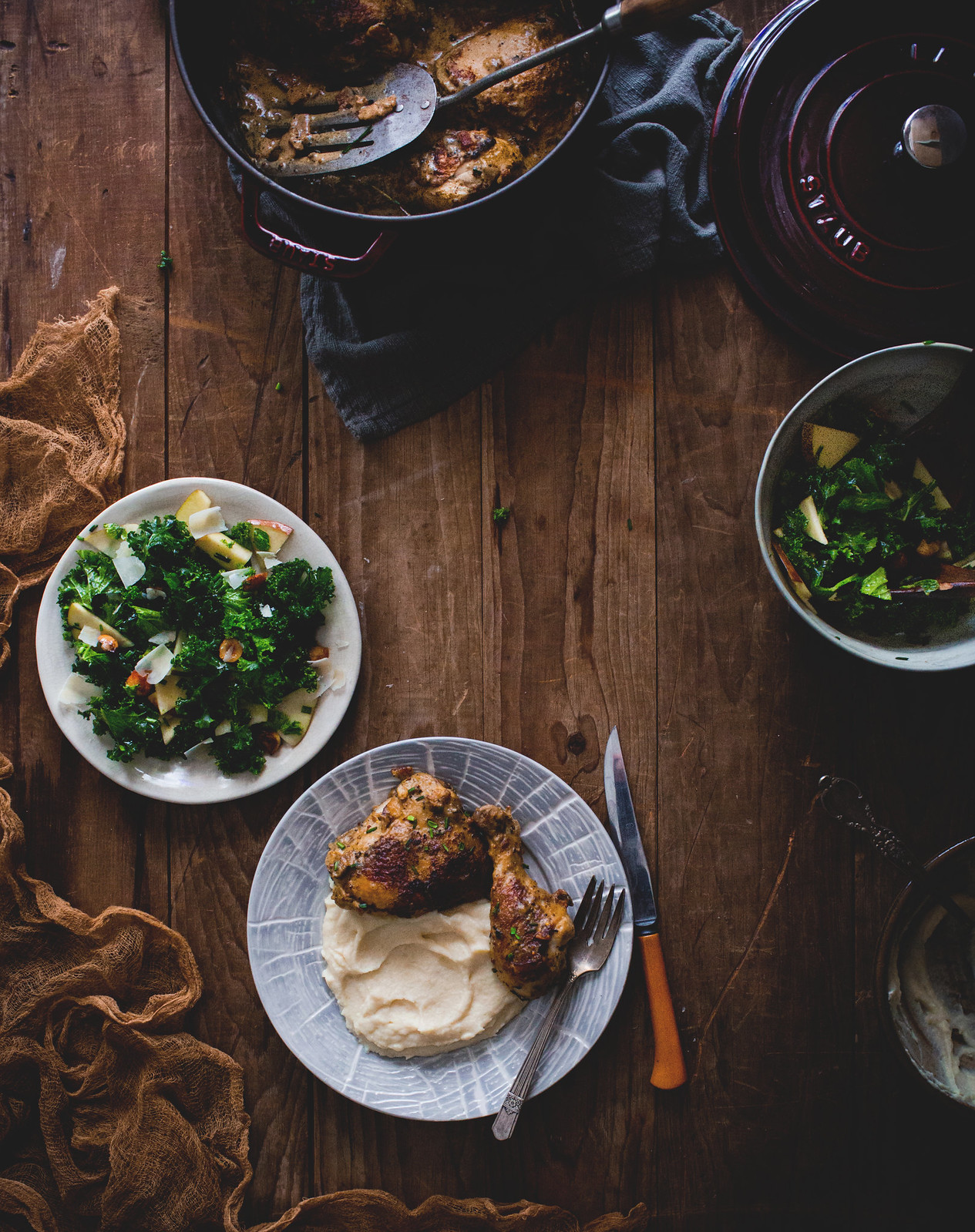 Mustard Chicken with Celery Root Pureé and Kale, Apple, & Candied Hazelnut Salad + A Cape Cod Workshop!