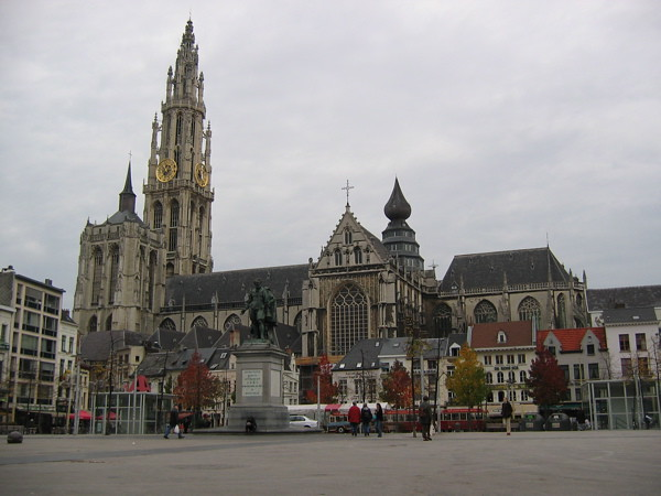 Cathedral of Our Lady in Antwerp with Statue of Rubens in foreground