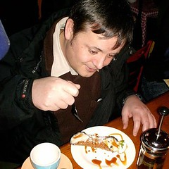 This is me a few years ago eating Italian pudding in Covent Garden.