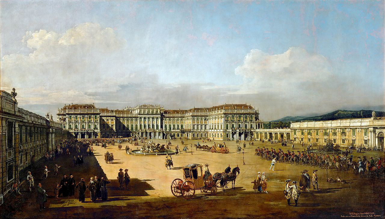 Imperial pleasure palace Schoenbrunn, courtyard by Bernardo Bellotto, 1761.
